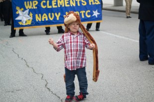 A child of a Marine veteran poses in front of the camera. | Sara Samora/The Cougar