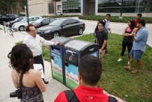 Solar-powered recycling bins have become a campus staple. Justin Tijerina/The Cougar