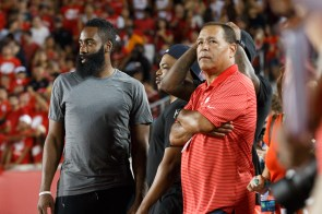 A couple of Houston super-stars made an appearance in support of the Cougars, as James Harden and Ty Lawson of the Houston Rockets, stood sideline for the game.   Justin Tijerina/The Cougar