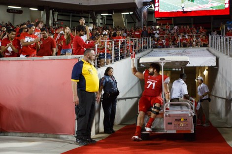 The injury-riddled offensive line sustained more losses on Saturday, including senior Zach Johnson, who was carted off the field due to a knee injury. | Justin Tijerina/The Cougar