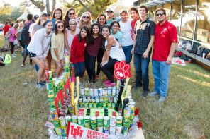 Delta Gamma and Kappa Alpha stand with their finished stadium product. | Photo by Justin Cross.