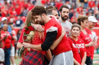 Houston honored their seniors before kickoff in their final regular-season home game of their careers. | Justin Tijerina/The Cougar