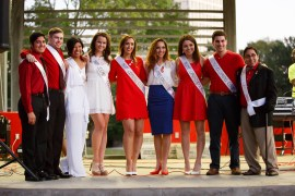 The Homecoming Court was all smiles at the pep rally. Winners will be announced at the game Saturday.