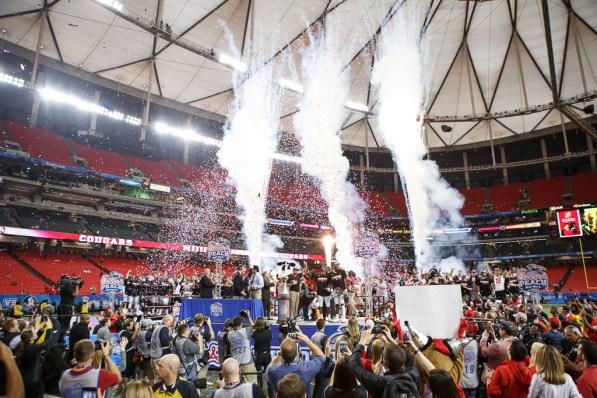 Celebrations begin post game. | Justin Tijerina/The Cougar