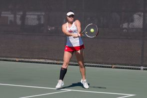 Junior Despoina Vogasari took wins both in the singles and doubles matches on the day. | Justin Cross/The Cougar