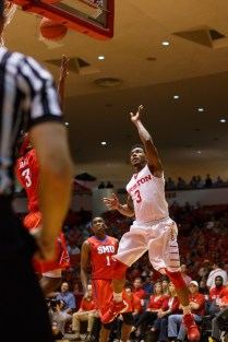 Red-shirt junior guard Ronnie Johnson provided a spark for the Cougars in his 23 minutes, with seven points, three rebounds and five assists. | Justin Tijerina/The Cougar