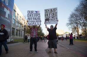 Anti-Trump protesters. | Photo by Justin Cross.
