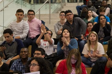 Students clapped in agreement during one candidate's opening remarks. | Photo by Justin Cross.