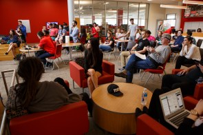 Students gather in the first floor of the Student Center North Building to see the performance on Tuesday afternoon. | Justin Tijiera/The Cougar