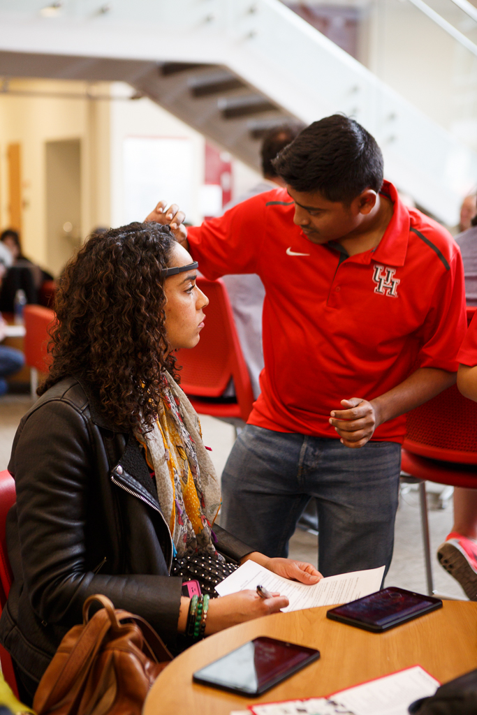 Renee Keith, a human factors graduate student from Bently University in Boston, gets her brain waves monitor during the event.   Justin Tijiera/The Cougar