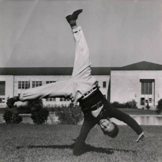 Cheerleader midway through a cartwheel in 1969. |Courtesy of UH