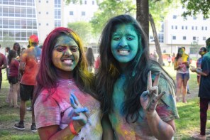 Biomedical engineering students junior Nishka Bommareddy and sophomore Haripriya Sundaramurthy enjoyed the afternoon event with friends. | Robyn Archer/The Cougar