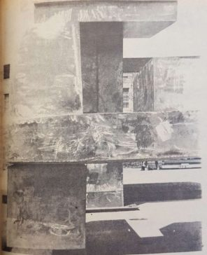 Construction at the fountains with Ezekiel Cullen in the background. Fifteen days after opening, the campus was forced to drain the fountains after finding a faulty concrete slab at the floor of the pool.   Taken from The Houstonian, 1972.