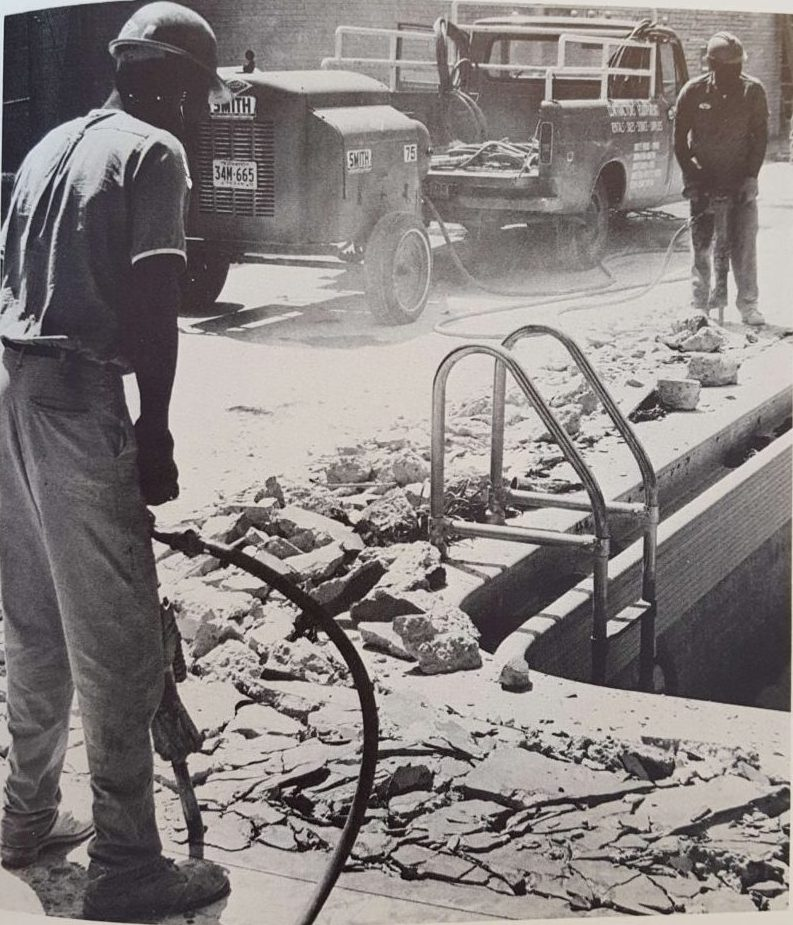Construction on the fountains. | Taken from The Cougar, 1972