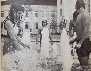 Co-eds shower at the fountains.   Taken from The Cougar, 1972