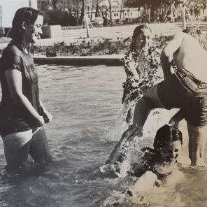 Unnamed students enjoying the fountains. | Taken from The Cougar, 1972