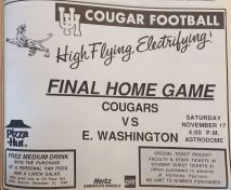 After getting smacked by rival UT, the Cougars obliterated Eastern Washington 84-21. In this ad in The Cougar, students are treated to a Pizza Hut deal after the game, and special $1 tickets. | Archive photo/The Cougar