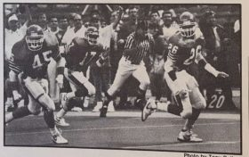 """""""Klinger's 7 TD passes Humilate Arkansas."""" Arkansas was forced to chase the Cougars up and down the field. Even after the 62-28 thumping, the Cougars remained the number 6th team in the land. 