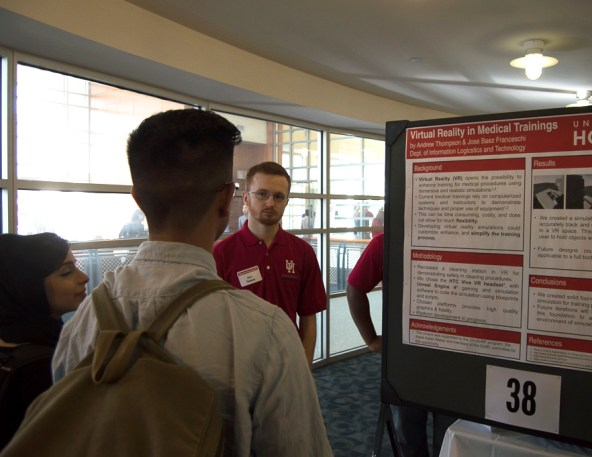 Computer science senior Andrew Thompson's research explored the field of virtual reality, where simulation-based training can better equip practicing doctors. | Ajani Stewart/The Cougar