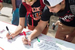"""Students at Butler Plaza were invited to pledge to """"end the stigma"""" of mental illness. 