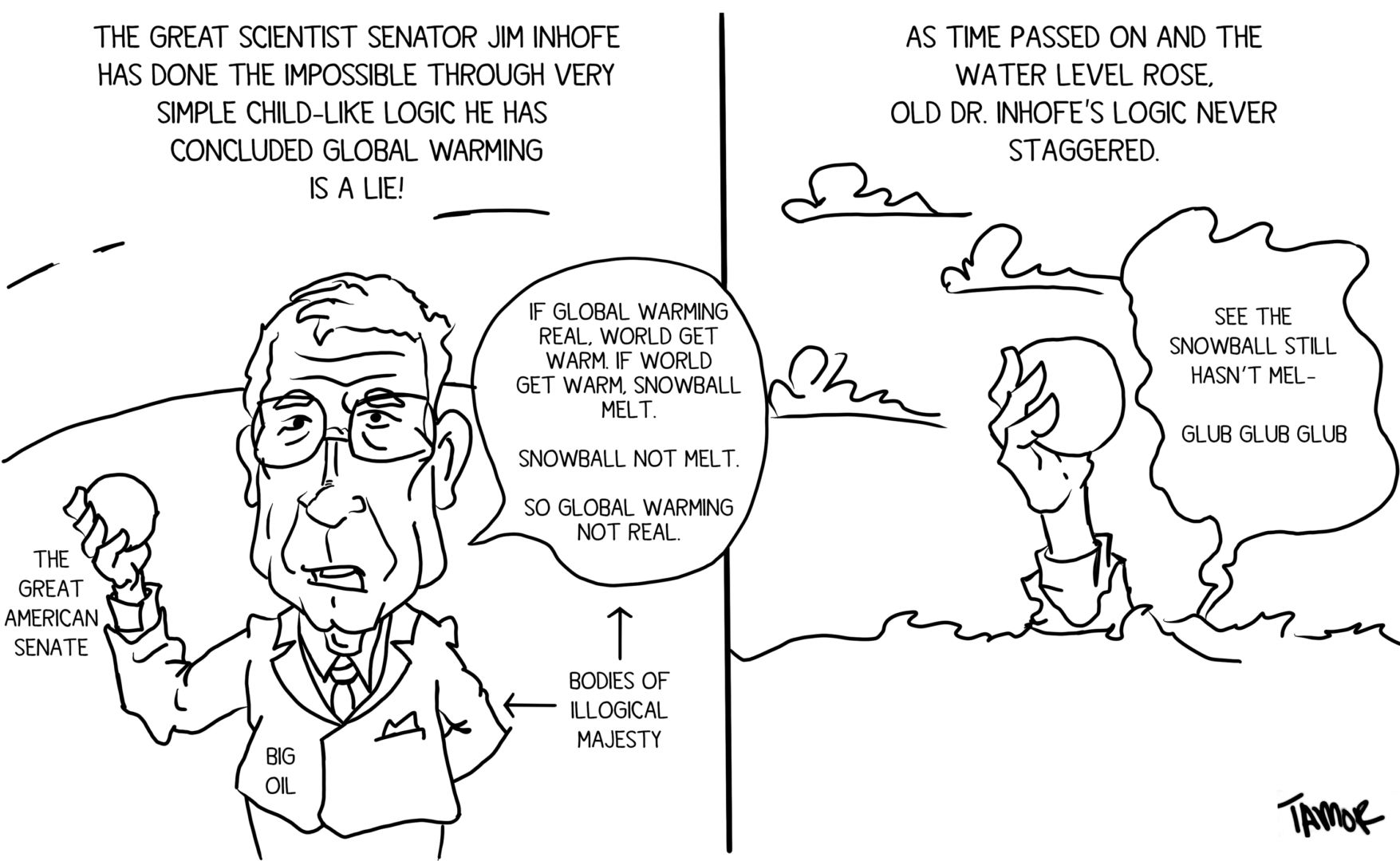 Cartoon: The snowball test proves climate change is a hoax