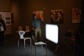 Leica by XtraLight and UHID faculty is a table designed to offer light therapy for Alzheimer's patients, many of whom have trouble distinguishing day and evening. | Julie Araica/The Cougar