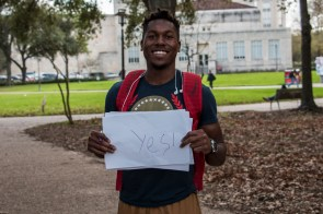 """""""Yeah, I do agree with it. If it takes out a lot of extra money from financial aid and more people realize that college isn't a necessity for success, then yeah, they can probably do without school if it's just something they can't afford,"""" said entrepreneurship freshman Calvin Laskey.   Julie Araica/The Cougar"""