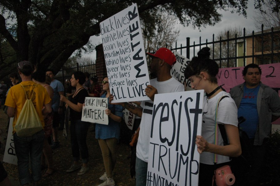 Over 100 protesters marched from Hermann Park to NRG Park on Sunday to rally against the Trump administration. | Traynor Swanson/ The Cougar