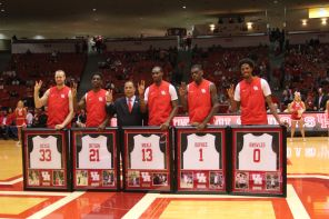 "It was senior night in Hofheinz. Cougar fans said goodbye to center Kyle Meyer, Damyean Dotson, Bertrand Nkali, Xavier Dupree and Danrad ""Chicken"" Knowles. 