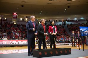 At halftime, UH Chancellor and President Renu Khator, Director of Athletics Hunter Yurachek and Board of Regents Chairman Tilman Fertitta ceremoniously broke ground for the new Fertitta Center. | Justin Cross/The Daily Cougar