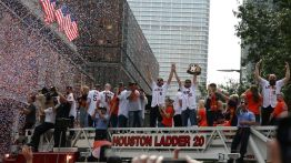 Jake Marisnick, Josh Reddick and Evan Gattis roll through downtown. Reddick, a longtime fan of wrestling, brandishes a WWE belt customized with Houston Astros logos celebrating their world series victory. | Thomas Dwyer/The Cougar