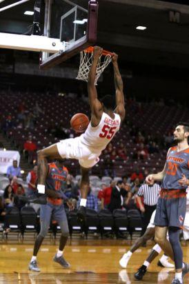 Against UT Rio Grande Valley, redshirt sophomore Brison Gresham had four blocks, 12 points and one big dunk. | Mikol Kindle Jr./The TSU Herald