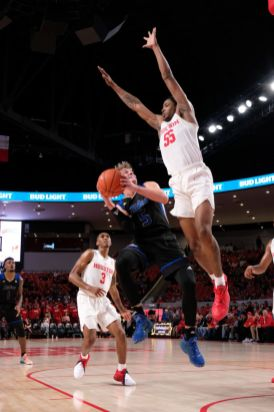 After sitting out a year due to transferring, redshirt sophomore Brison Gresham has been a force on defense. Gresham had a block and eight rebounds against Tulsa. | Kathryn Lenihan/The Daily Cougar