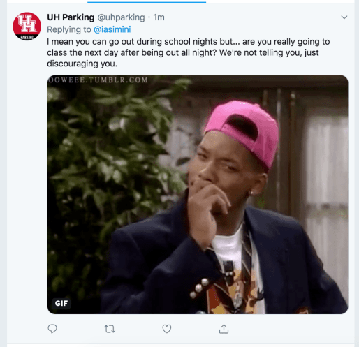 A gif of a questioning Will Smith is used to respond to a student asking about overnight parking. | Photo provided to The Cougar by a Twitter user