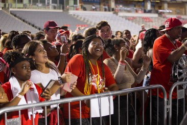 Fans flocked to TDECU Stadium for Cage Rage, a night of music, athlete appearances, and a concluding water balloon fight. | Trevor Nolley/The Cougar