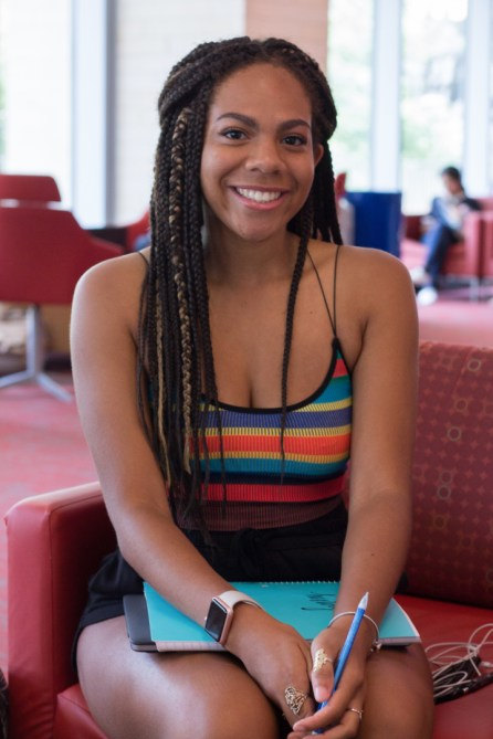 """""""I've struggled to get on schedule, but I've just started, so I'm trying to get it under control,"""" said Bianca Peoples, geology sophomore.   Katrina Martinez/The Cougar"""