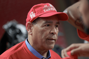 """Houston head coach Kelvin Sampson's first words to the media after getting off the team bus were, """"I really don't know how to react to it.""""  Kathryn Lenihan/The Cougar"""