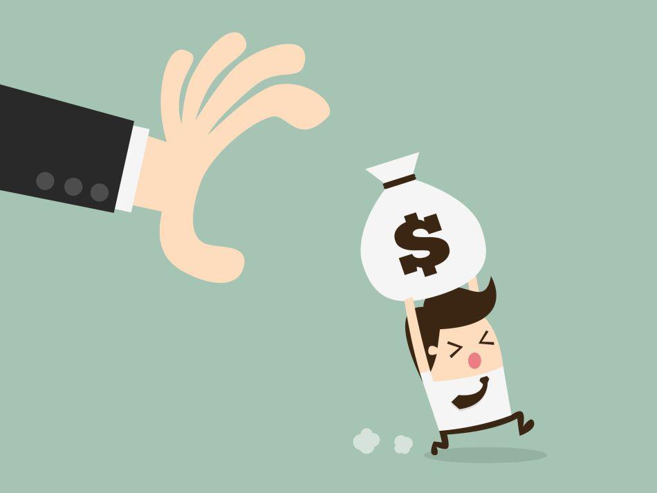 52631377 - hand grabbing money bag