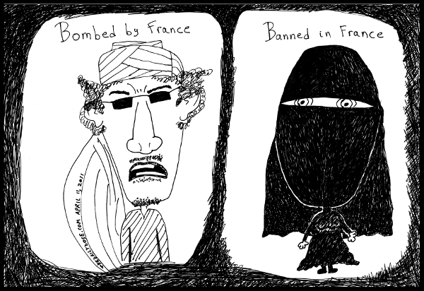 cartoon comic strip featuring france's favorite solutions to gadafi  and the niqab , from laughzilla for TheDailyDose.com