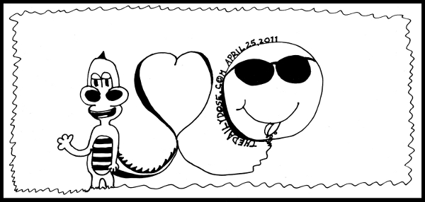cartoon comic strip featuring a one line cartoon expressing  Laughzilla loves smiley , from laughzilla for TheDailyDose.com