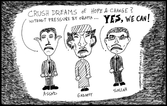 political cartoon of arab dictators using yes we can slogan of president obama in explaining their tyrranical methods 2011 by Yasha Harari