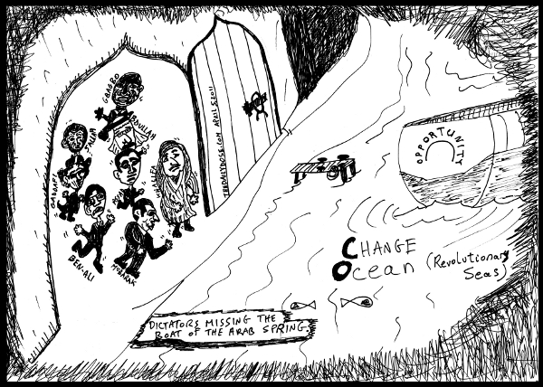 cartoon comic strip featuring dictators failing to get on board the  opportunity sailing the ocean of change in araby during the arab spring of 2011 , from laughzilla for TheDailyDose.com