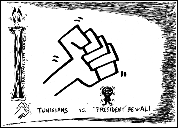 A  cartoon about Tunisia revolt against President Ben-Ali from laughzilla for TheDailyDose.com
