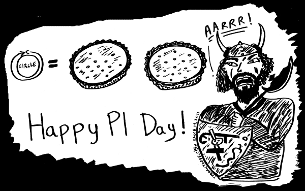 cartoon about PI  Day, from laughzilla for TheDailyDose.com