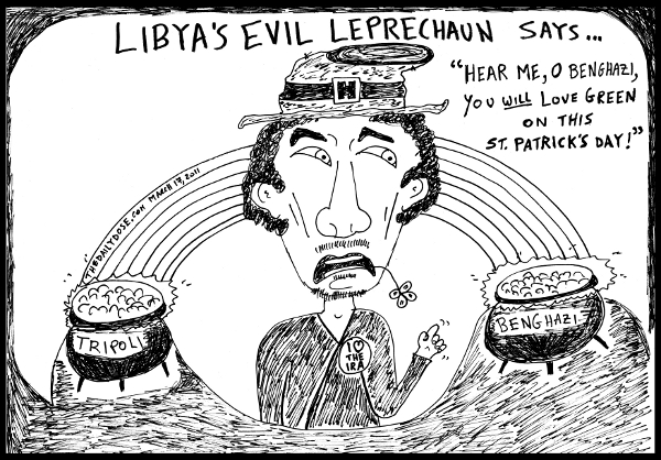 cartoon about St. Patrick's Day and the Green loving Col. Gaddafi in 2011, from laughzilla for TheDailyDose.com