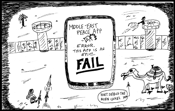 political cartoon panel featuring middle east peace app epic fail  line drawing satire parody art ink on paper 2011 may 16 , from laughzilla for TheDailyDose.com