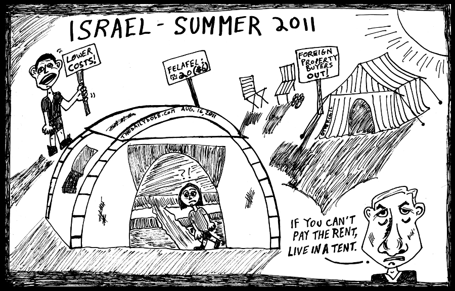 Israel Summer 2011 Tent Protest political cartoon by laughzilla for thedailydose.com and oyvey.co.il