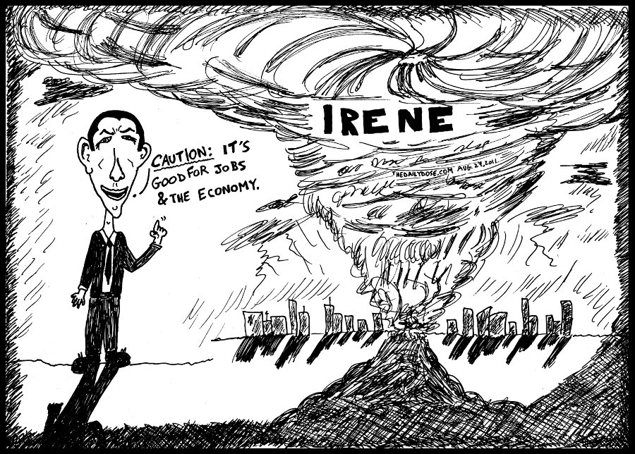 hurricane irene editorial cartoon president obama economy political caricature by laughzilla for the daily dose