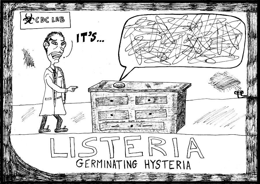 listeria editorial cartoon laughzilla medical hysteria comic strip caricature for the daily dose