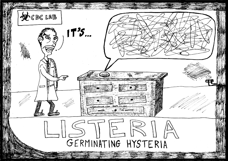 listeria editorial cartoon laughzilla medical hysteria comic strip caricature for the daily dose